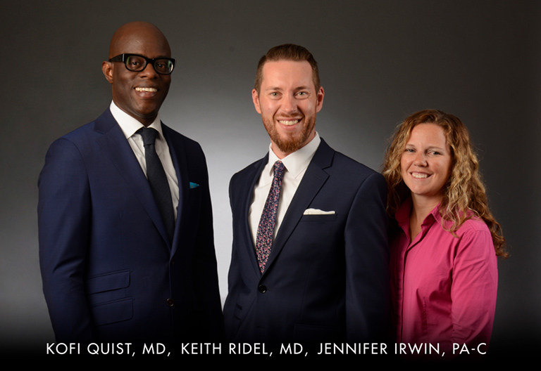 Kofi Quist, MD, Keith Ridel, MD, and Jennifer Irwin, Physician Assistant